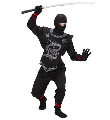 BLACK NINJA (coat pants ties chestpiece mask) Childrens