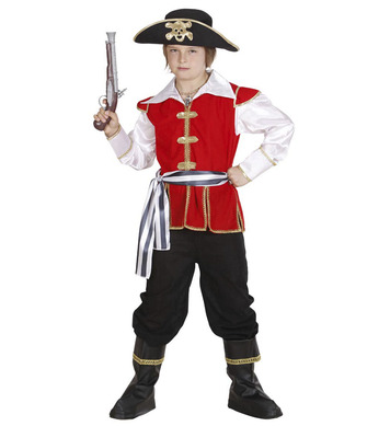 PIRATE CAPTAIN COSTUME (coat w/shirt pants belt hat) Childrens
