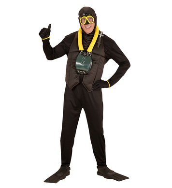 SCUBA DIVER (hooded j/suit oxygen tank flippers mask)