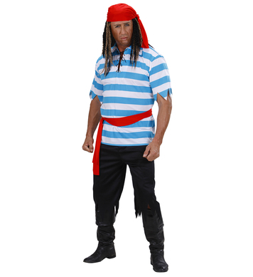 CARIBBEAN PIRATE - STRIPED (shirt pants belt bandana)