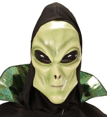 ALIEN HOODED MASK WITH BUBBLE EYES child size