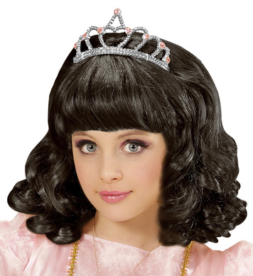 BLACK PRINCESS WIG WITH TIARA in box