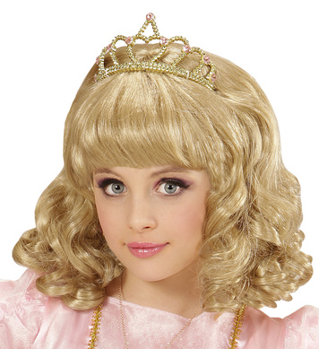 BLONDE PRINCESS WIG WITH TIARA in box