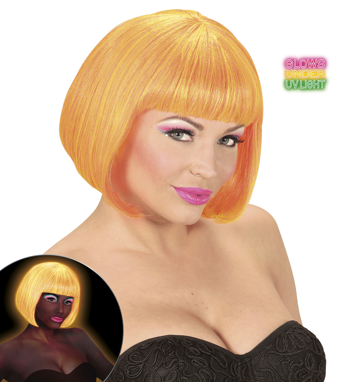Mixed Neon Valentina Wig In Box 80s Fancy Dress