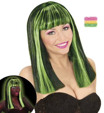 NEON GREEN STREAKED BLACK PATSY WIG in polybag
