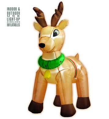 LIGHT-UP INFLATABLE REINDEER 122cm - indoor & outdoor use