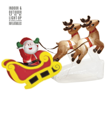 LIGHT-UP INFLATABLE SANTA CLAUS ON SLED WITH 2 REINDEERS 210