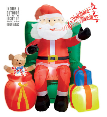 LIGHT-UP INFLATABLE SANTA CLAUS SEATED ON SOFA WITH PRESENTS