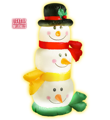 INFLATABLE LIGHT UP SNOWMAN HEADS 122cm (Euro Plug attached)