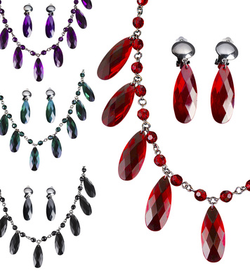 GOTHIC NECKLACE & EARRING SET (red/black/purple/green)