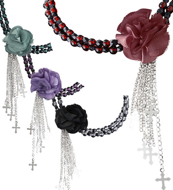 GOTHIC FLOWER CHOKERS (red/purple/black/green)