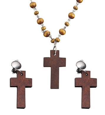 WOODEN ROSARY & CROSS EARRING SET