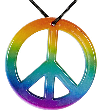 HIPPIE NECKLACE WITH MULTICOLOR PEACE MEDALLION