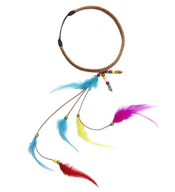 DECORATED HIPPIE HEADBAND WITH FEATHERS