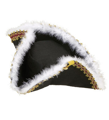 DECORATED TRICORN HAT WITH MARABOU AND VELCRO CLOSURE