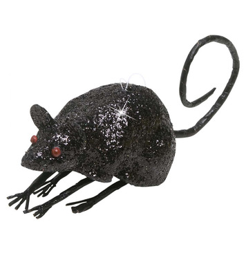 BLACK GLITTER MICE 9cm