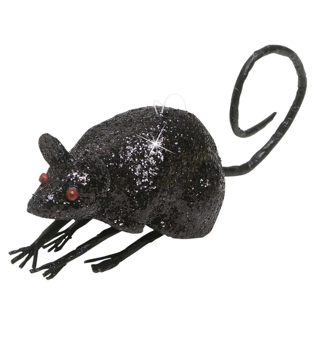 Black Glitter Mice Halloween Decoration