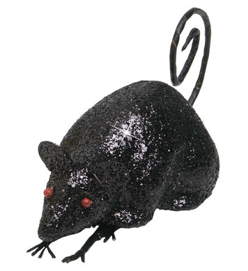 BLACK GLITTER MICE 12cm