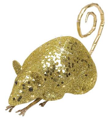 GOLD GLITTER MICE 12cm