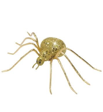 GOLD GLITTER SPIDERS 6.5cm
