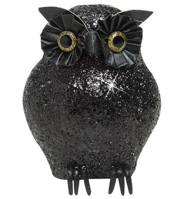 BLACK GLITTER OWLS 11cm