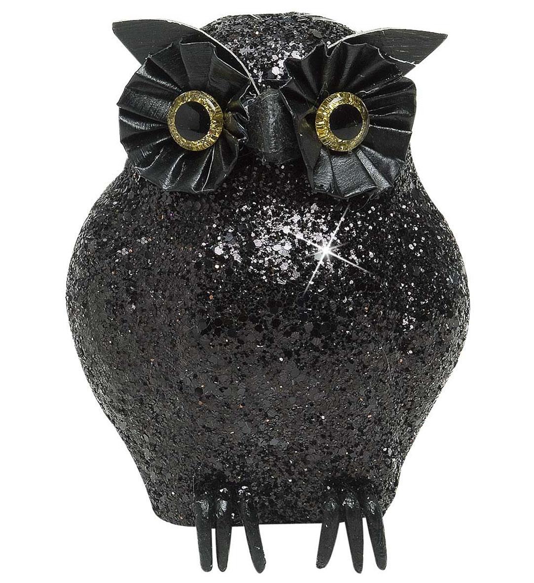 Black Glitter Owls Halloween Decoration