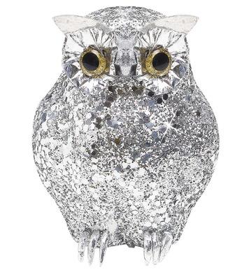 SILVER GLITTER OWLS 11cm