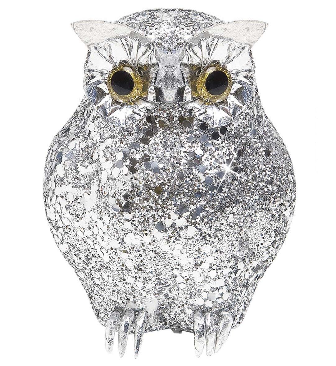 Silver Glitter Owls Halloween Decoration