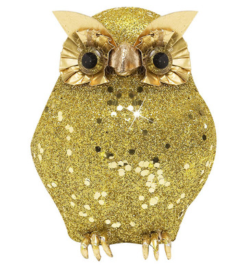 GOLD GLITTER OWLS 11cm