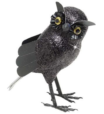 BLACK GLITTER OWLS 19cm