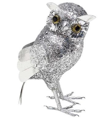 SILVER GLITTER OWLS 19cm