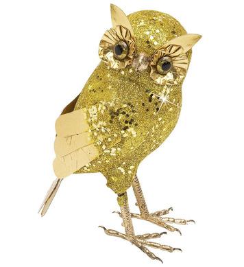GOLD GLITTER OWLS 19cm