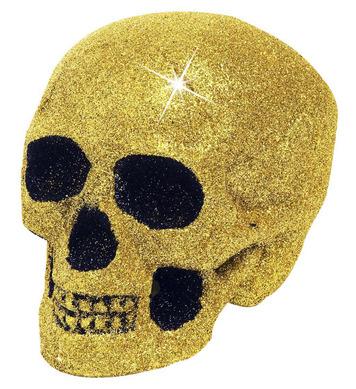 GOLD GLITTER SKULLS 19cm