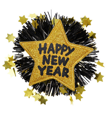 HAPPY NEW YEAR BROOCH - GOLD