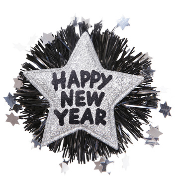 HAPPY NEW YEAR BROOCH - SILVER