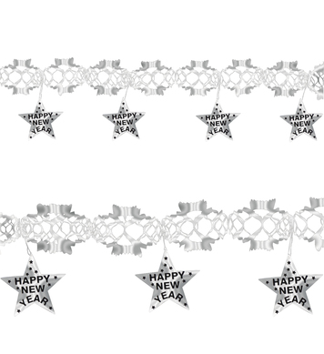 GARLAND HAPPY NEW YEAR 3m  SILVER