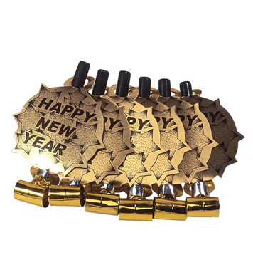 NEW YEAR BLOW OUTS GOLD - 6 Pack
