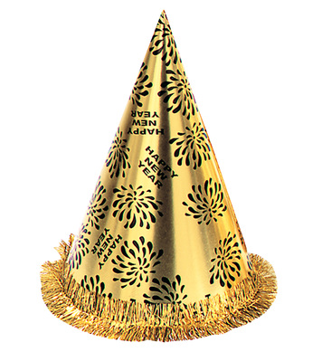 NEW YEAR CONE HAT W FRINGE GOLD