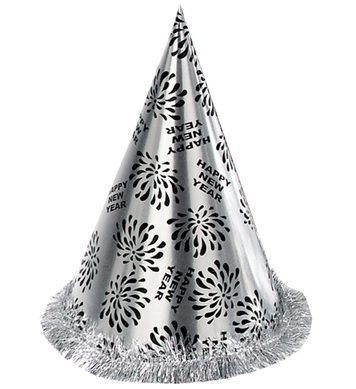 NEW YEAR CONE HAT W FRINGE SILVER
