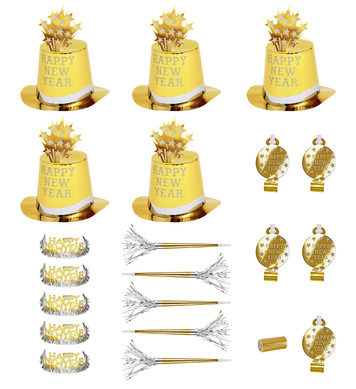 NEW YEAR PARTY KIT GOLD 10 PERSON