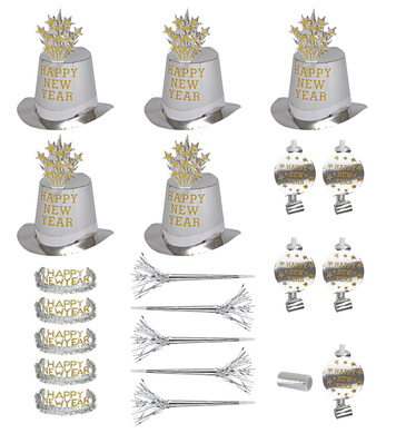 NEW YEAR PARTY KIT SILVER 10 PERSON