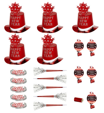 NEW YEAR PARTY KIT RED FOR 10 PEOPLE