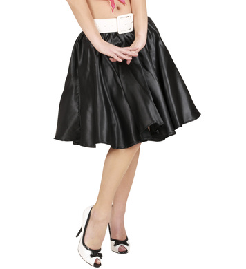 BLACK SATIN SKIRT W/PETTICOAT
