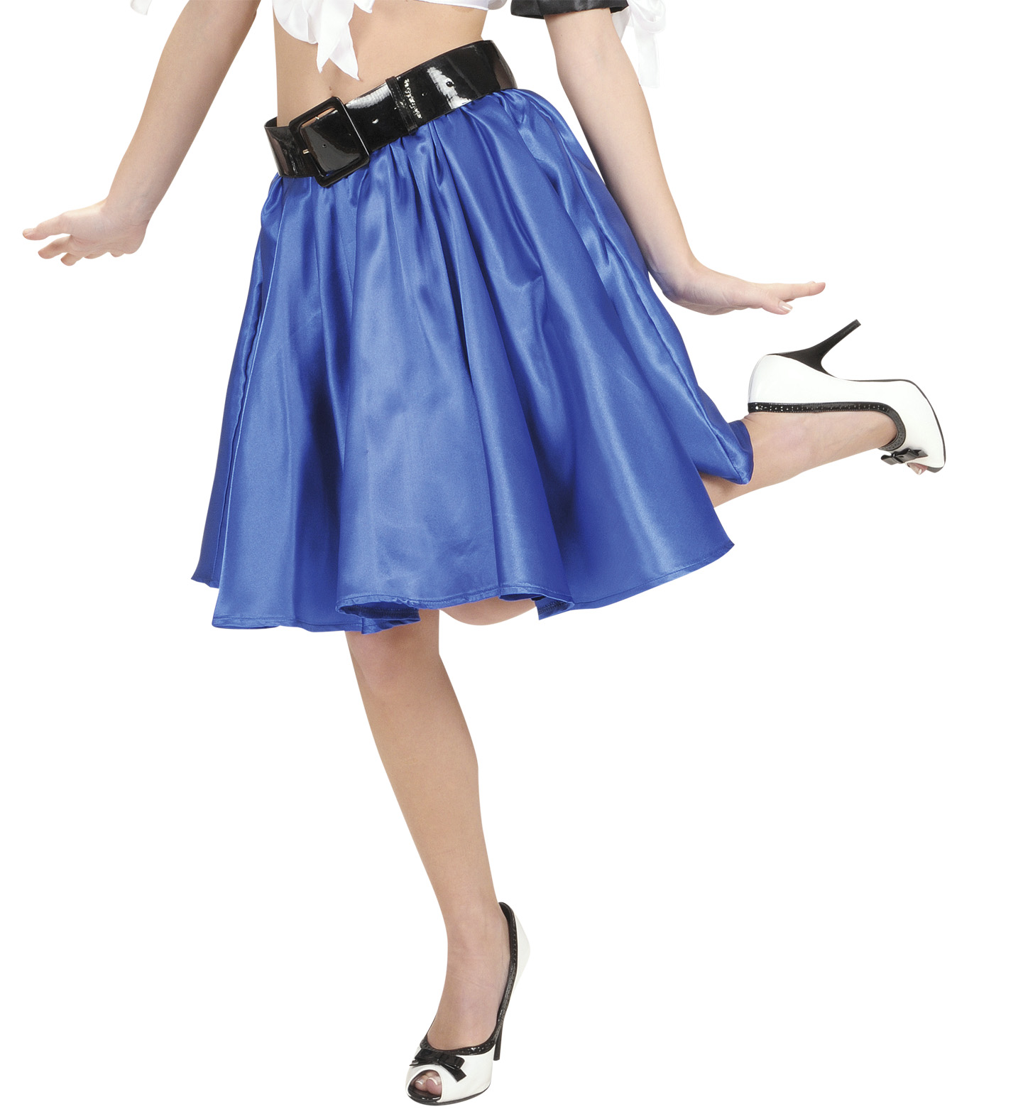 Blue Satin Skirts with Sewn-In Petticoat 50s Fancy Dress
