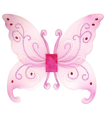 FANTASY GLITTER WINGS W/GEMS  (pink or white) 66cm x 55cm