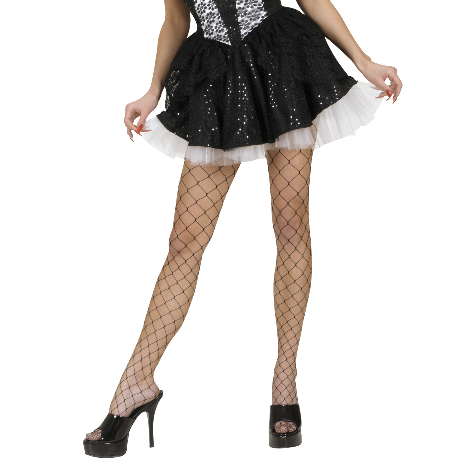 Black Sequin & Lace Skirts with Sewn-In Petticoat Fancy Dress