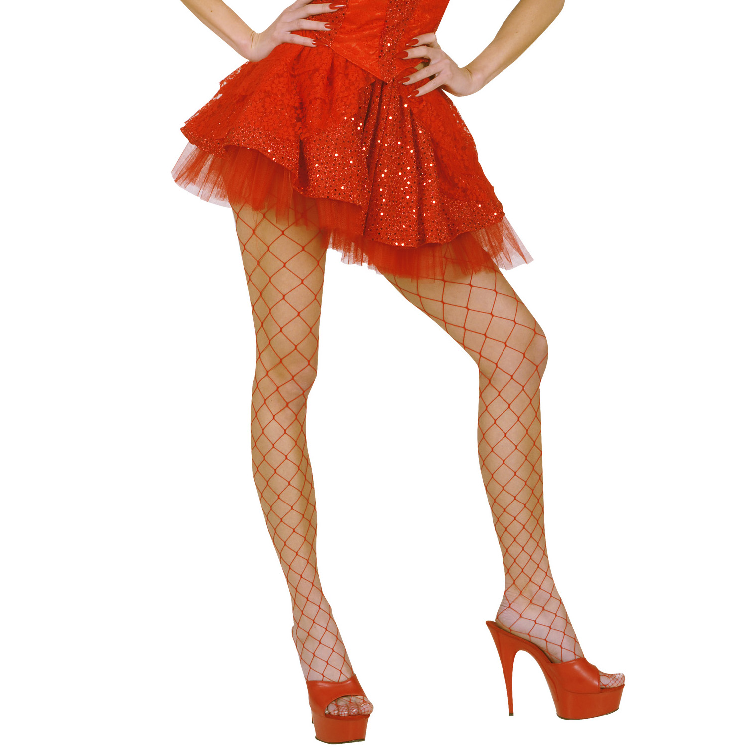Red Sequin & Lace Skirts with Sewn-In Petticoat Fancy Dress