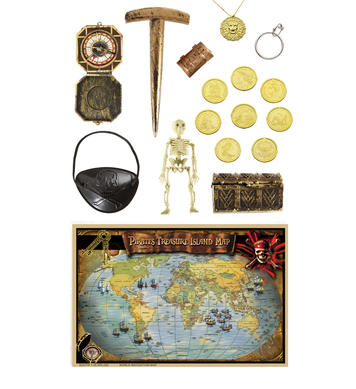 DELUXE PIRATE KIT - (map chest coins compass jewellery)