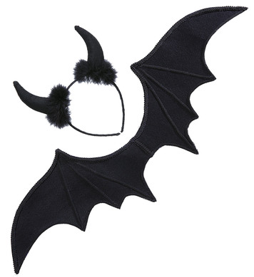 BLACK DEVIL DRESS UP SET (wings horns)