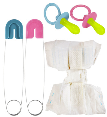 BABY NAPPY SET (diaper pin pacifier) - Pink or Blue